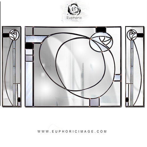 Trio Stained glass Mackintosh inspired mirror measuring 180 x 100 cm