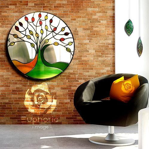 Round Tree Design Stained Glass Mirror