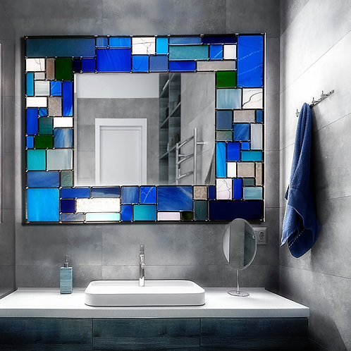 Mosaic design lead overlay stained glass mirro
