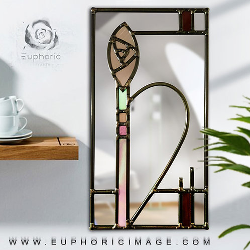 Mackintosh Design lead overlay stained glass mirror