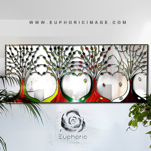 Rectangular Four Seasons Design Stained Glass Mirror. 140 x 60 cm