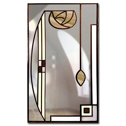 Stained glass Mackintosh inspired portrait mirror