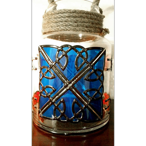Handcrafted Celtic design lead overlay stained glass Vase