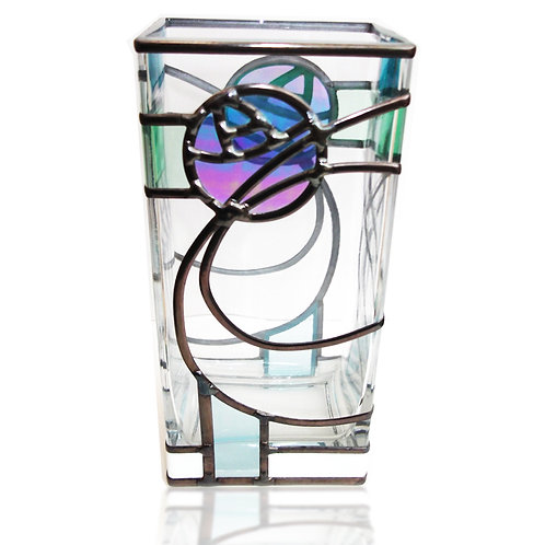 Mackintosh inspired lead overlay stained glass Vase