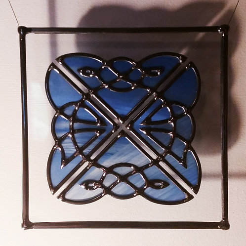 Celtic Inspired Suncatcher lead overlay stain glass 25 X 25 cm.