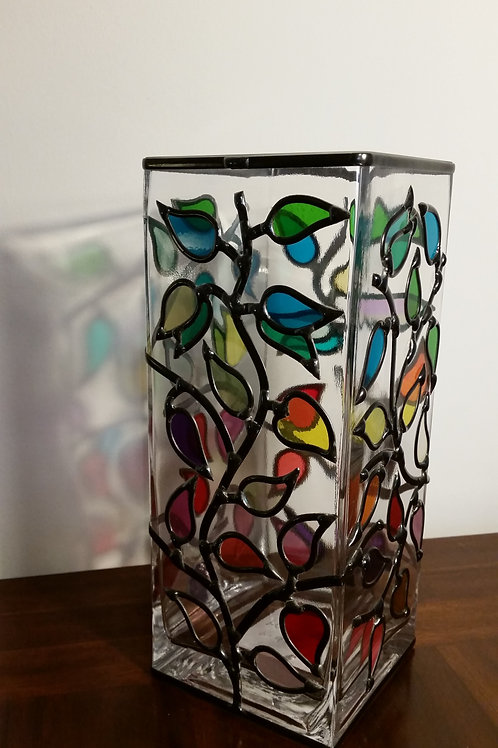 Handcrafted Branches lead overlay stained glass Vase