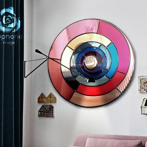 Round Stained glass Spiral Design mirror measuring 55 cm