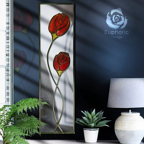 Mackintosh Design lead overlay stained glass mirrors 15 x 61 cm