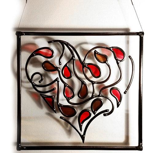 Heart Multileaves Suncatcher lead overlay stain glass 30 X 30 cm.