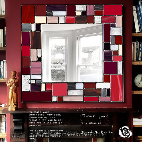 Red Mosaic design lead overlay stained glass mirror