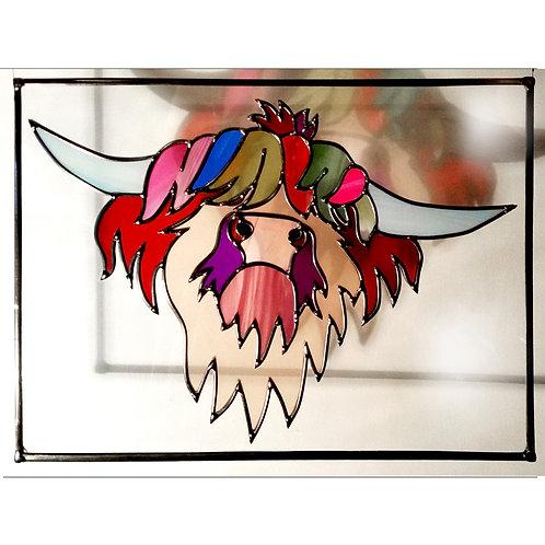 Highland Cow Suncatcher lead overlay stain glass 41 x 31 cm