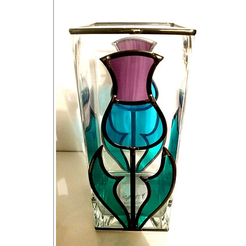 Handcrafted Thistle lead overlay stained glass Vase