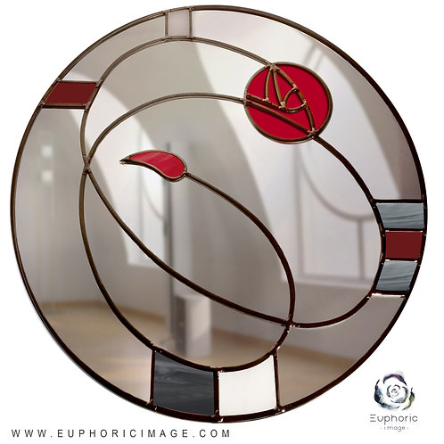 Round Stained glass Mackintosh inspired mirror