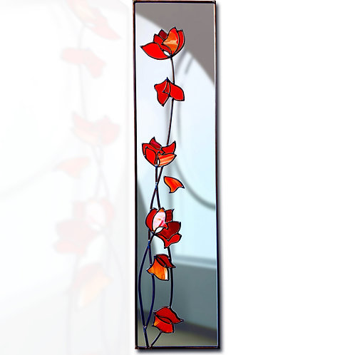Red Abstract Flowers lead overlay stained glass Mirror 20 x 71 cm each