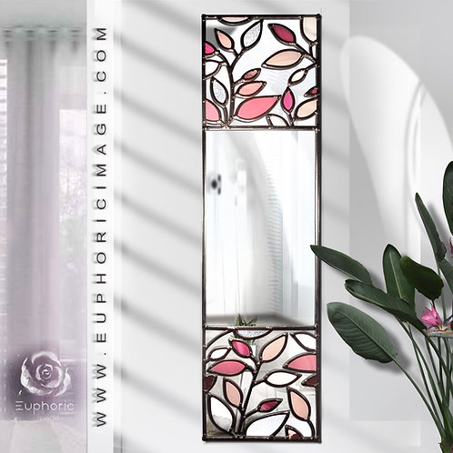 Pink Leaves lead overlay stained glass mirrors 20 x 77 cm