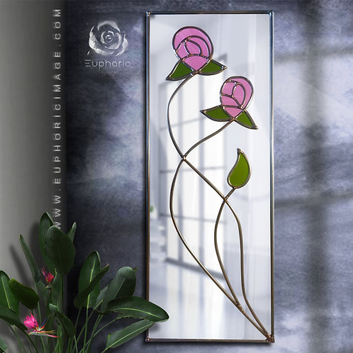 Mackintosh Design lead overlay stained glass mirror 24 x 61 cm.