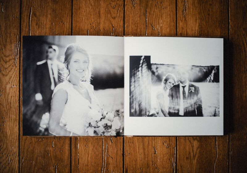 wedding album being displayed