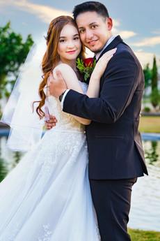 Bride and Groom Sunset Grace Gardens El Paso