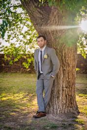 El Paso Wedding Groom Against Tree