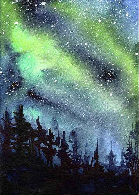 Watercolour Northern Lights - Afternoon