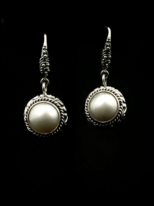 White Mabe Pearl French Wire Earrings