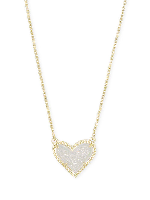 Ari Heart Gold Short Pendant Necklace In Iridescent Drusy