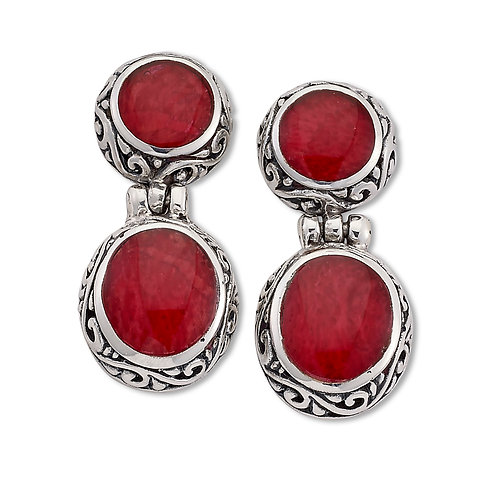 SS TWO STONE DROP CORAL EARRINGS