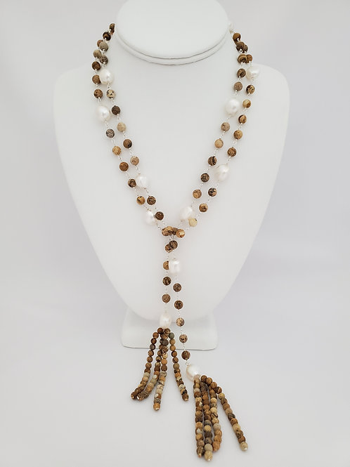 Genuine Picture Jasper and Baroque Pearls