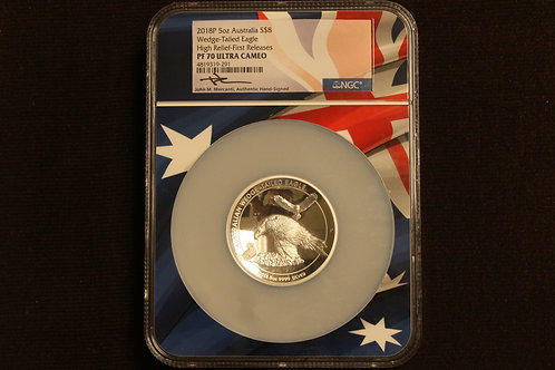 2018 P 5 oz Silver Australia Wedge Tail Eagle High Relief NGC PF 70 ER