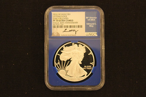 2016-W $1 American Silver Eagle Proof Lettered Edge NGC PF70 Early Releases
