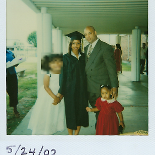 Bethany with her dad and sisters at grad