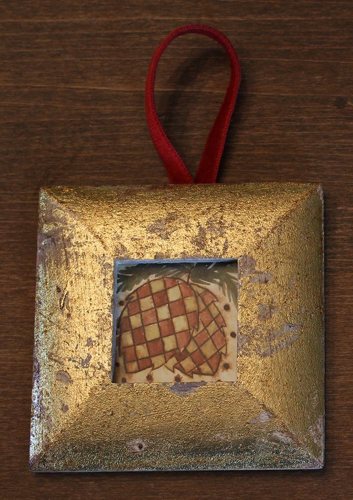 Red Pine Cone Ornament