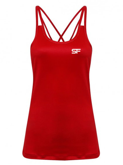 Spike Fitness Ladies Spaghetti Strap Vest (Red)