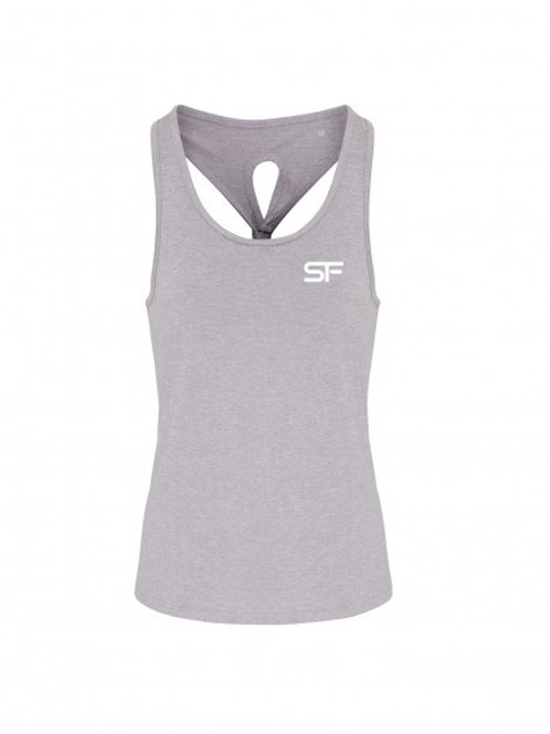 Spike Fitness Ladies Knot Vest Top (Grey)