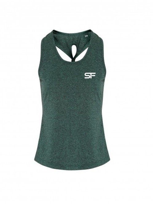 Spike Fitness Ladies Knot Vest Top (Green)