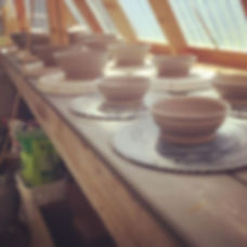 Throwing day!  #wheelthrownbowls #drying