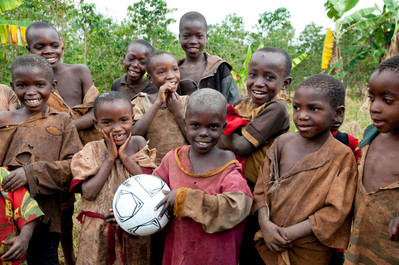 Children Given Brand New Soccer Ball
