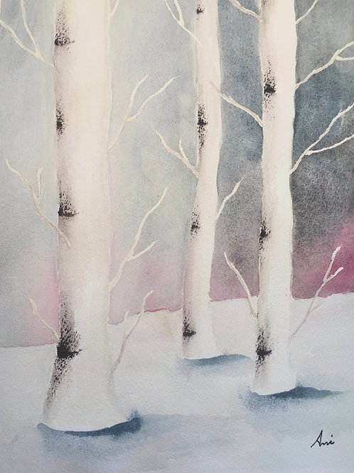 Watercolor Birch Tree