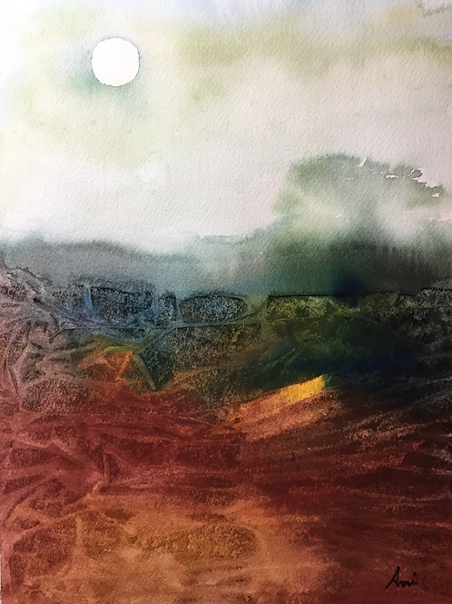 Abstract Landscape Watercolor Painting