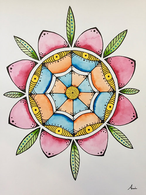 Flower Mandela, Watercolor, Pen & Ink