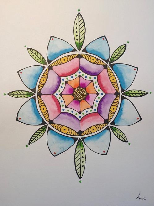 Flower Mandela, Watercolor, Pen & Ink