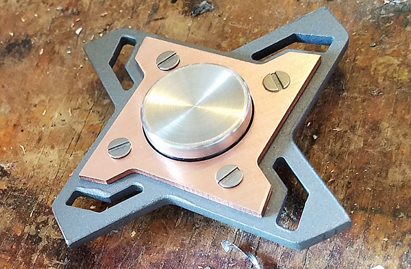 Custom made stainless steel and brushed copper fidget spinner