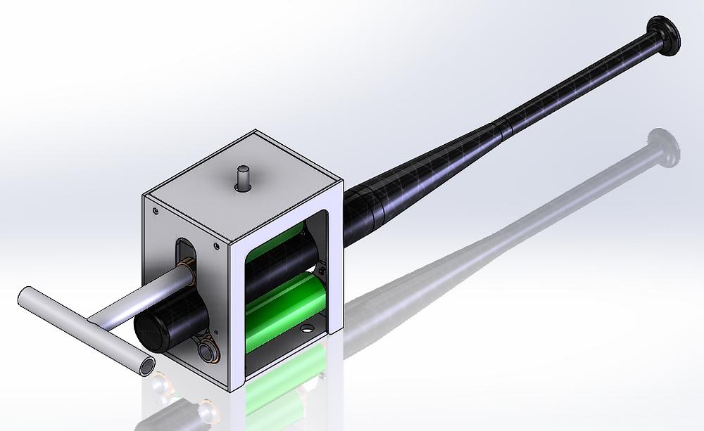 CAD image of bat roller with softball bat