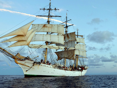 Rastreando o navio de treinamento DANMARK para o Caribe