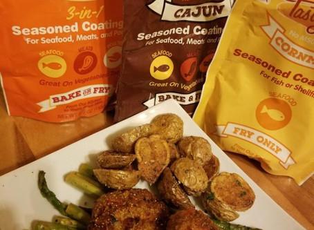 Tasty Delite versatile 3in1Seasoned Mix cook Salmon Croquette or Vegan style Potatoes & Asparagus