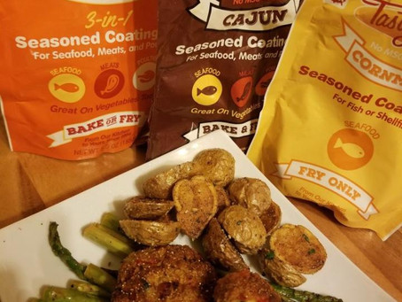 Tasty Delite versatile 3in1Seasoned Mix cook Salmon Croquette or Vegan style Potatoes & Asparagus