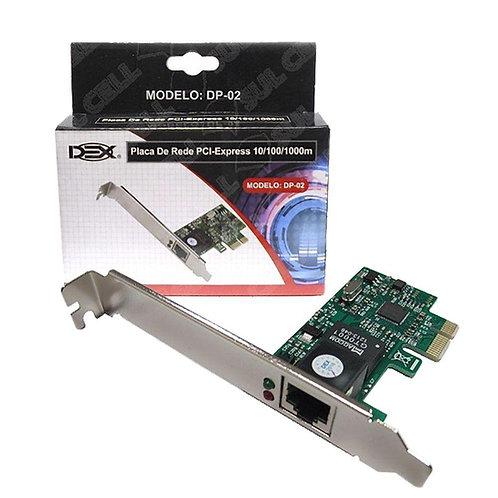 Placa Rede Gigabit Pci-e Rj45 Ethernet 10/100/1000 Dp-02 - Dex