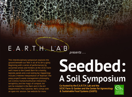 Juniper shares art/science research and paintings at the UCSC Soil Symposium on April 27th