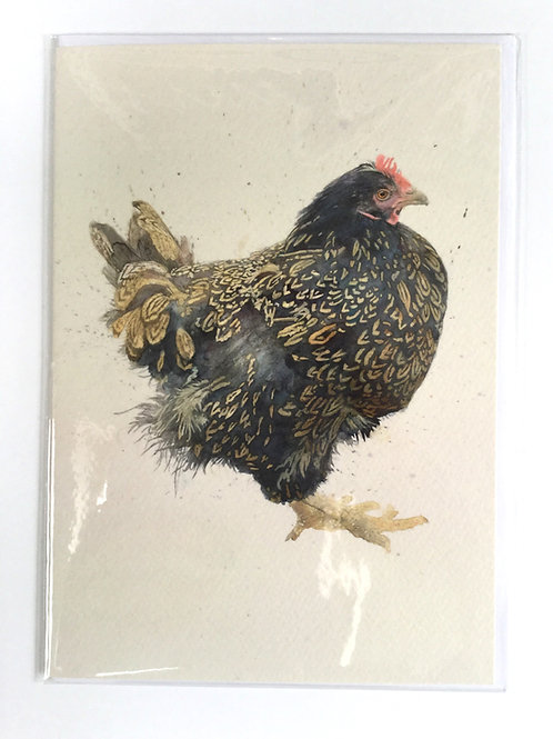 Blue Barnevelder Chicken // Greeting Card