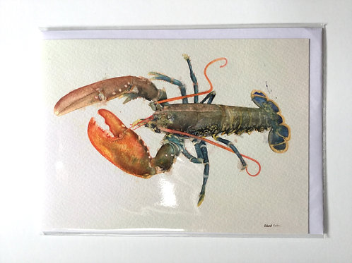 Blue Lobster with Orange Claw // Greeting Card